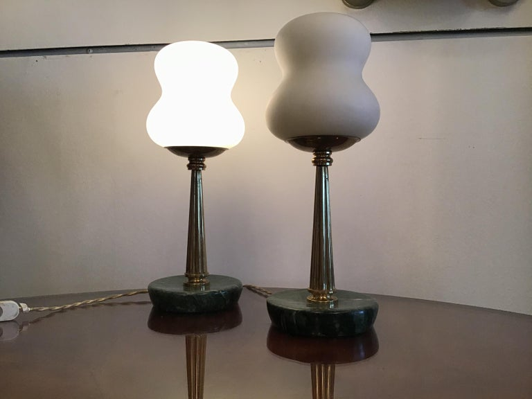 Mid-20th Century Stilnovo StyleTable Lamps Opaline Brass Marbre, 1950, Italy For Sale