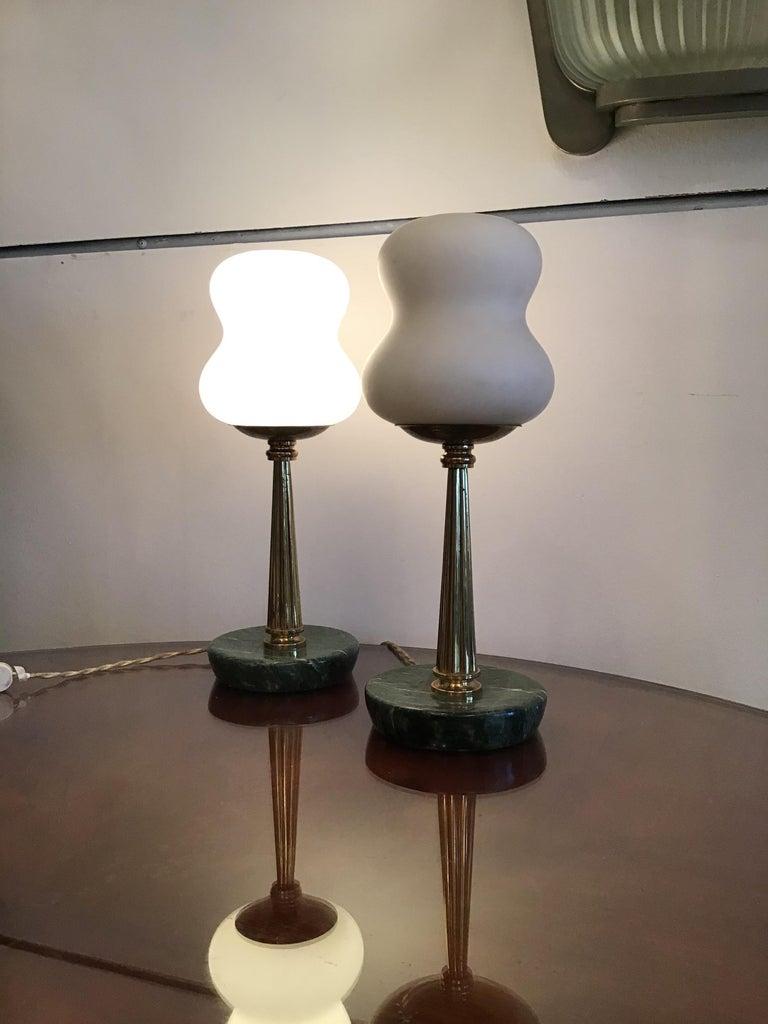 Opaline Glass Stilnovo StyleTable Lamps Opaline Brass Marbre, 1950, Italy For Sale