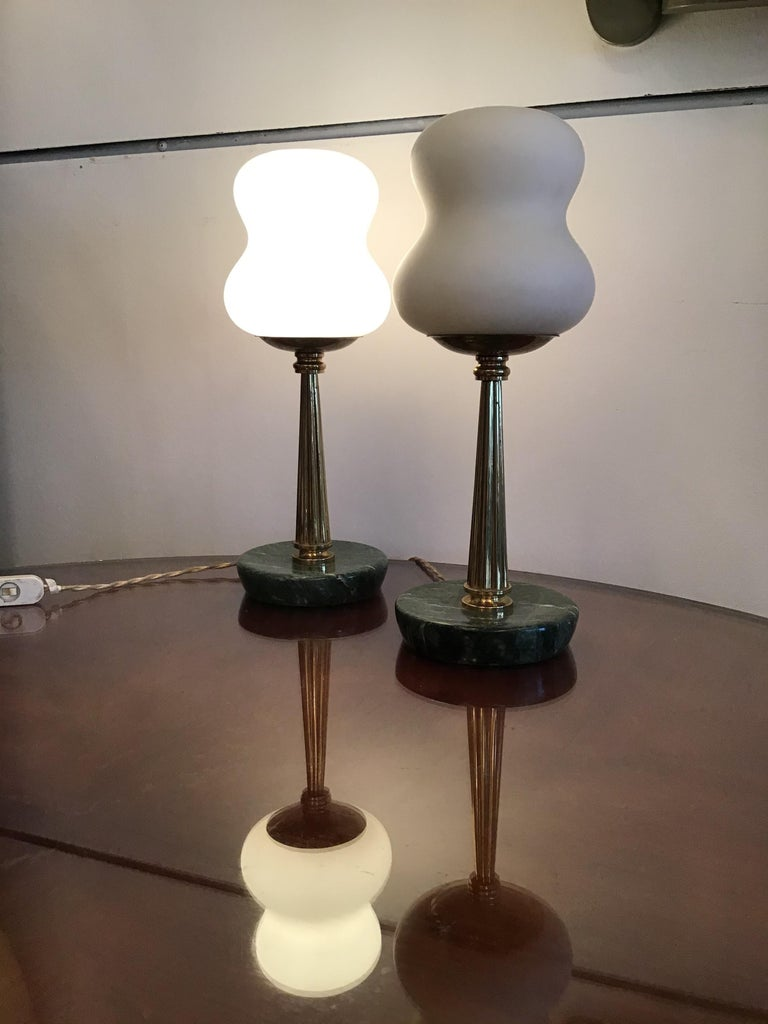 Stilnovo StyleTable Lamps Opaline Brass Marbre, 1950, Italy For Sale 1