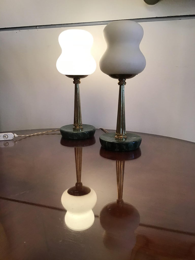 Stilnovo StyleTable Lamps Opaline Brass Marbre, 1950, Italy For Sale 2