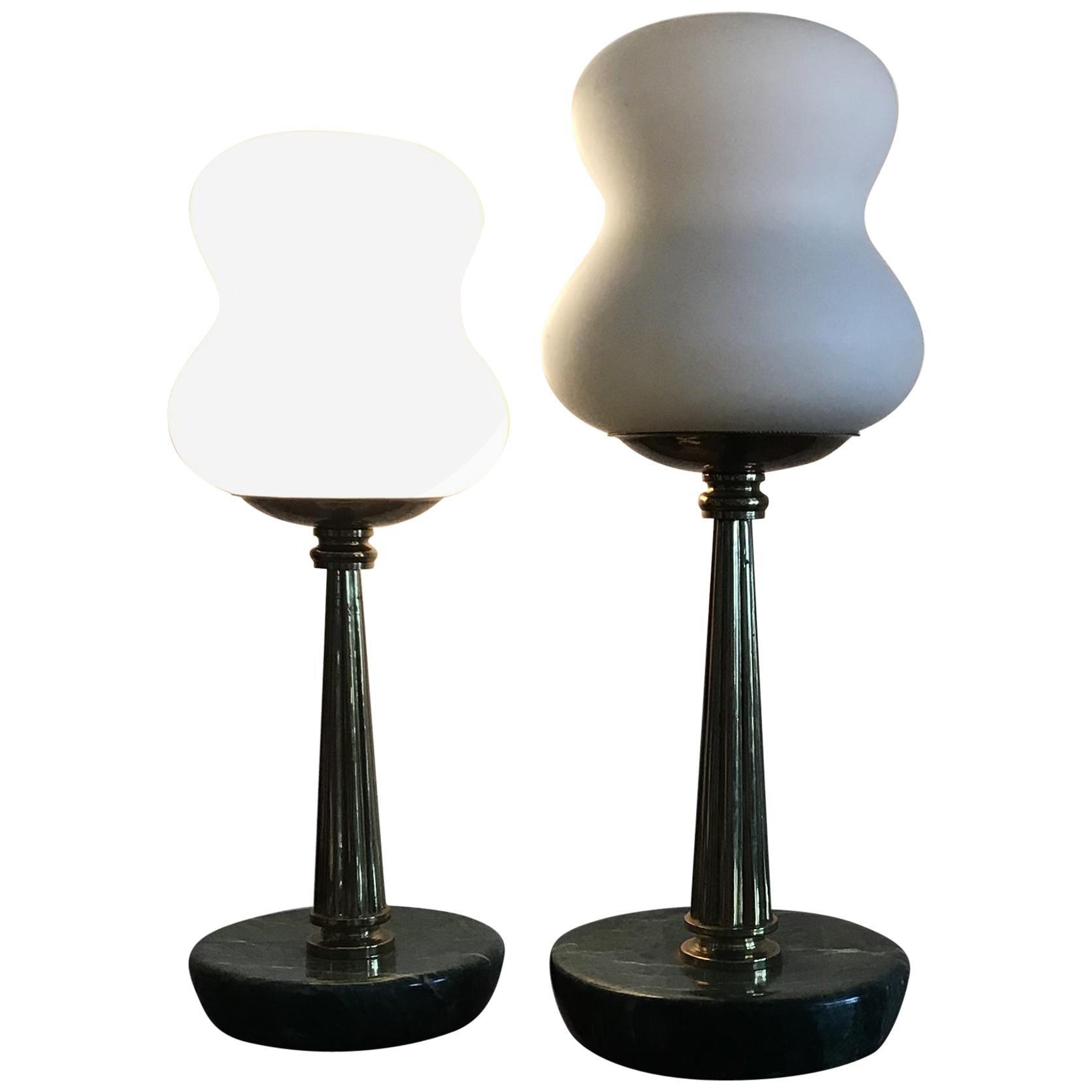 Stilnovo StyleTable Lamps Opaline Brass Marbre, 1950, Italy