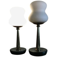 Stilnovo Table Lamps Opaline Brass Marbre, 1950, Italy