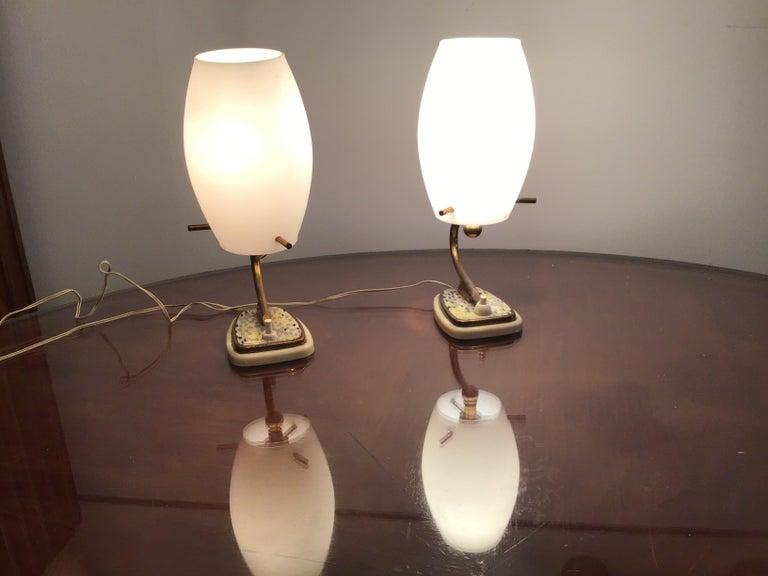 Stilnovo Table Opaline Glass Brass Plex, 1950, Italy For Sale 4