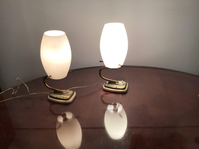 Stilnovo Table Opaline Glass Brass Plex, 1950, Italy For Sale 6