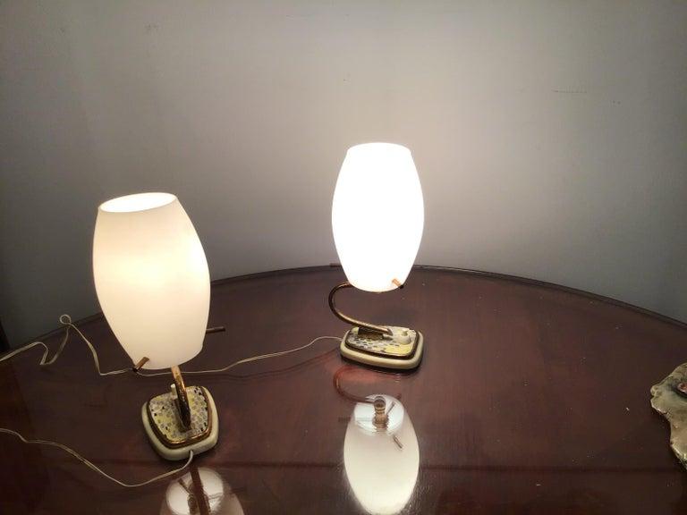 Stilnovo Table Opaline Glass Brass Plex, 1950, Italy For Sale 7