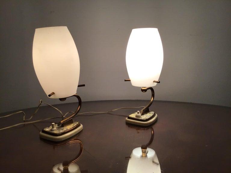 Stilnovo Table Opaline Glass Brass Plex, 1950, Italy For Sale 8