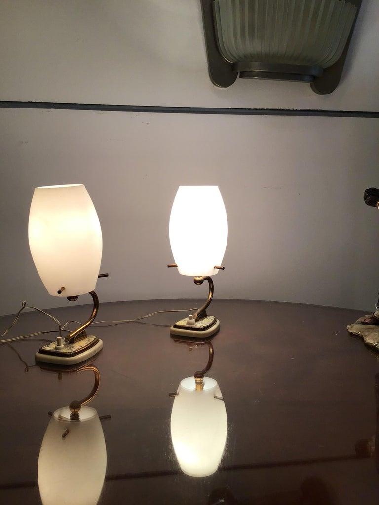 Stilnovo Table Opaline Glass Brass Plex, 1950, Italy For Sale 9
