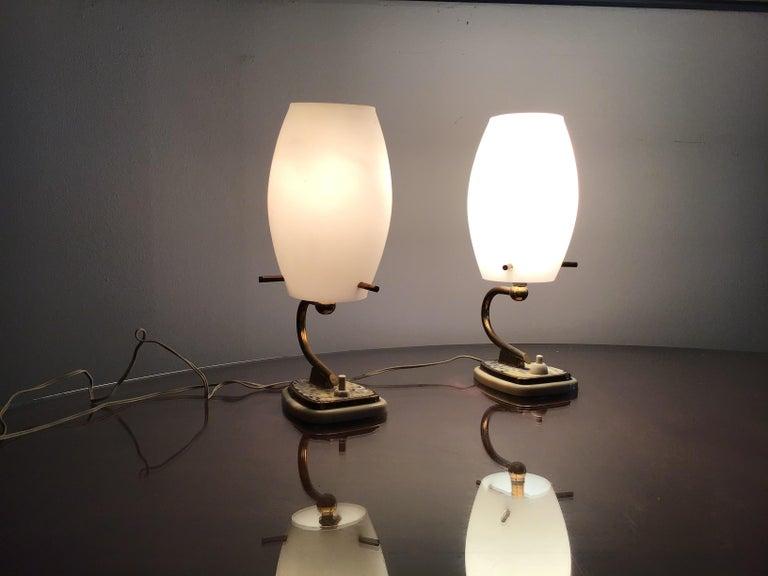 Stilnovo table opaline glass brass plex, 1950, Italy.