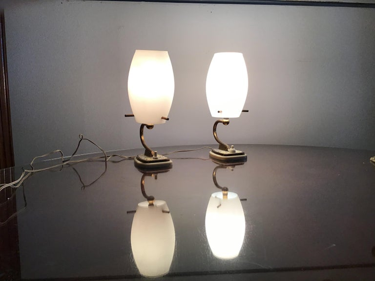 European Stilnovo Table Opaline Glass Brass Plex, 1950, Italy For Sale