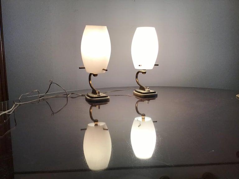 Stilnovo Table Opaline Glass Brass Plex, 1950, Italy In Good Condition For Sale In Milano, IT