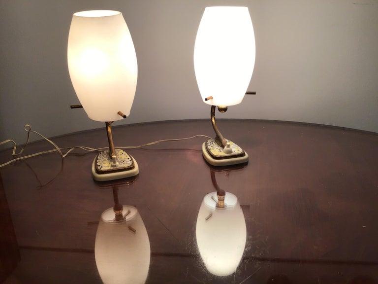 Stilnovo Table Opaline Glass Brass Plex, 1950, Italy For Sale 3