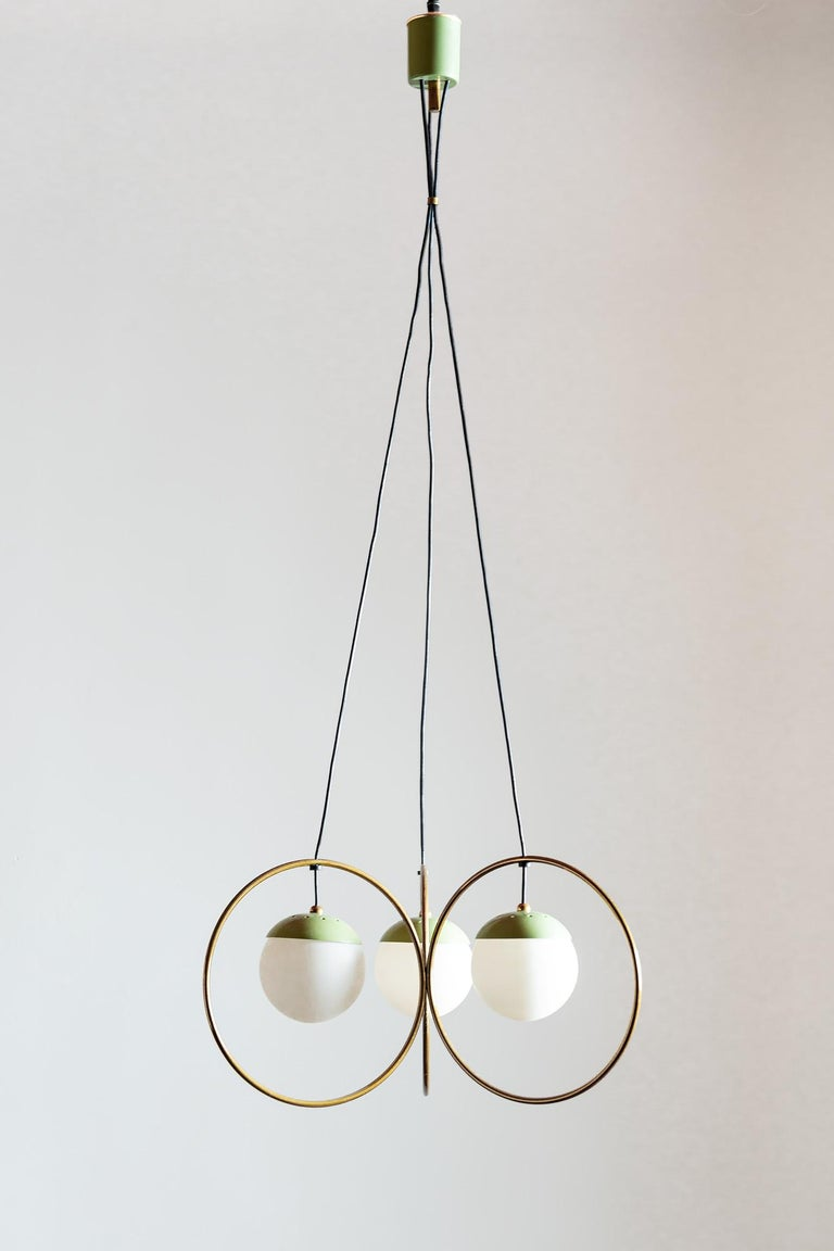 Mid-Century Modern Three Ball Chandelier with Green Accents, Italy, 1950s For Sale