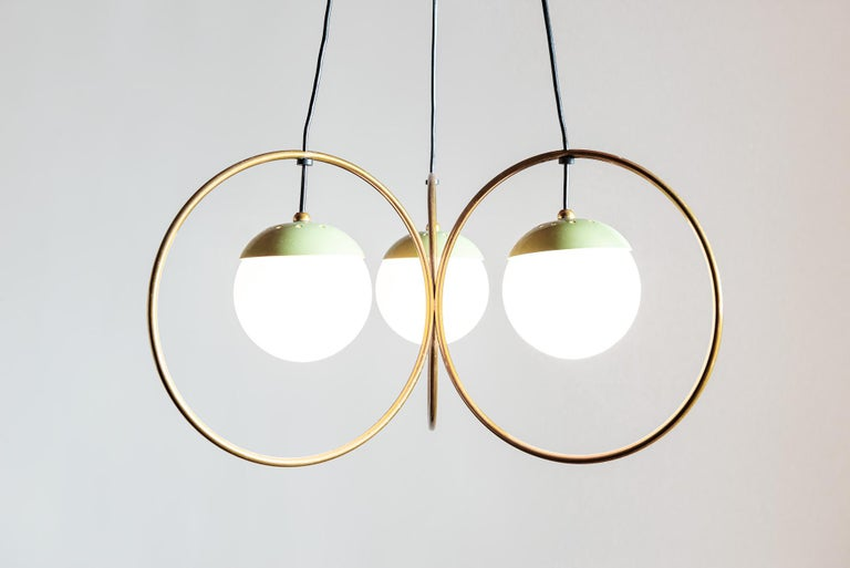 Italian Three Ball Chandelier with Green Accents, Italy, 1950s For Sale