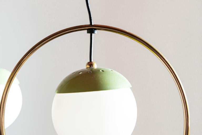 Mid-20th Century Three Ball Chandelier with Green Accents, Italy, 1950s For Sale