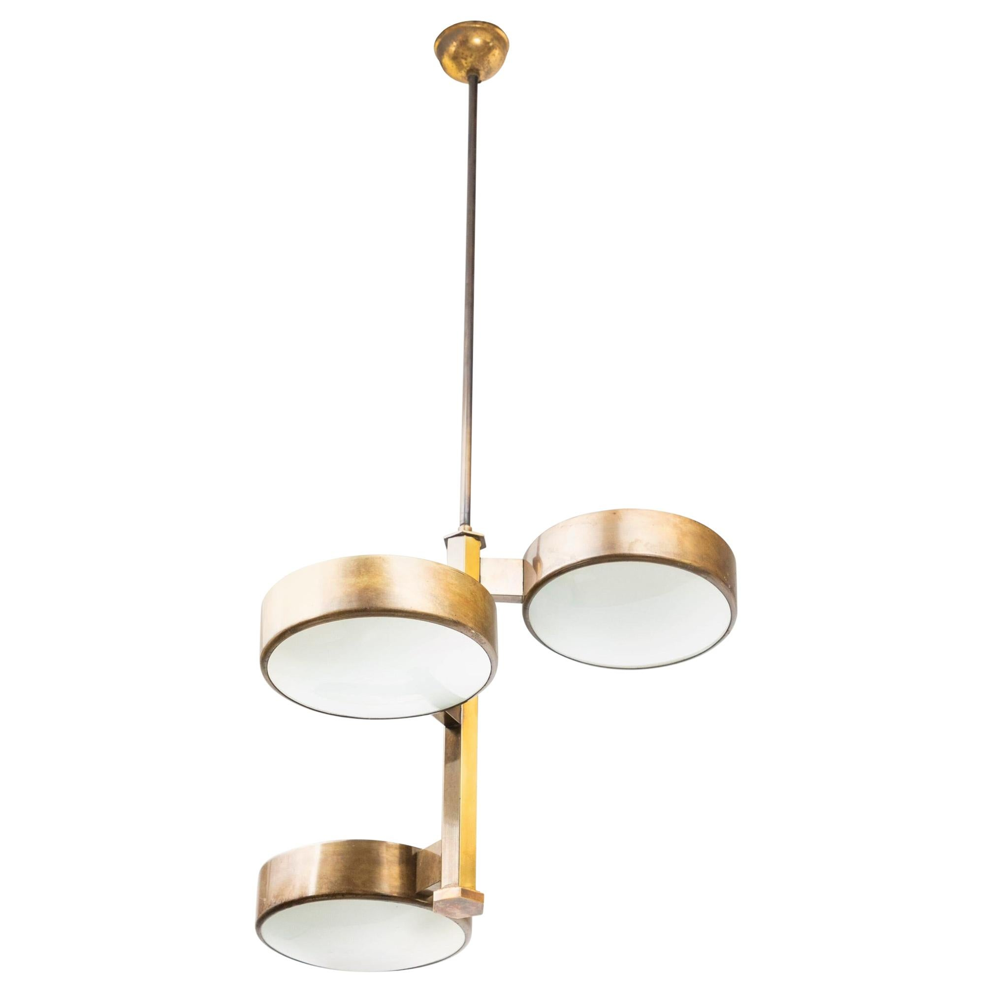Stilnovo Style Three Lights Brass and Satinated Glass Chandelier, circa 1958