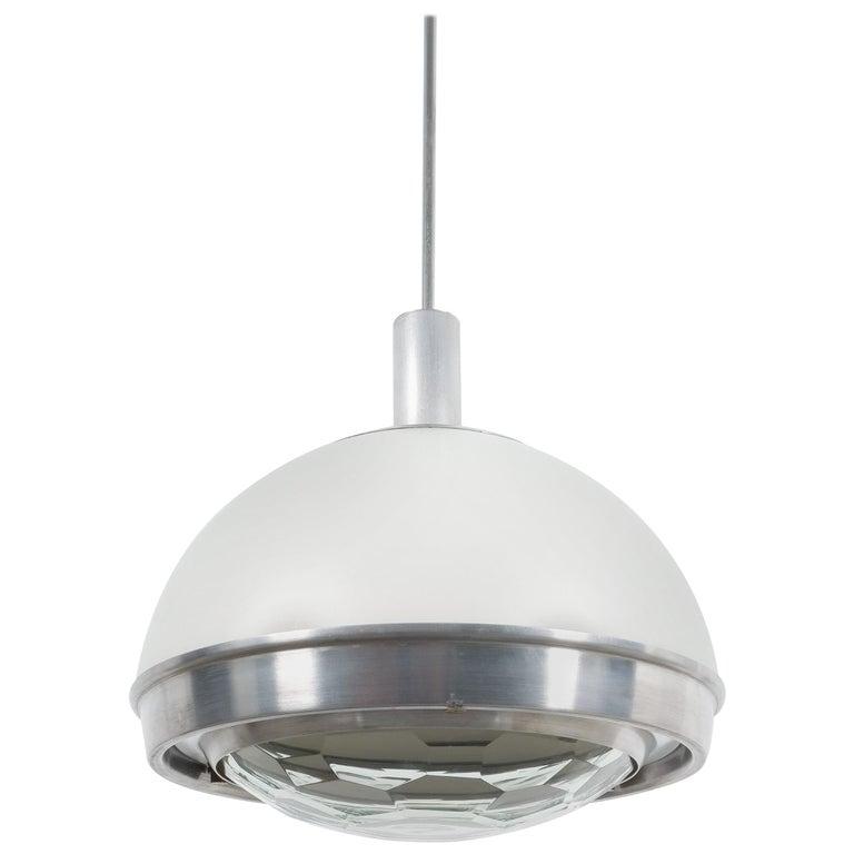 Stilnovo Translucent Optical Honeycomb Glass Pendant Lamp Glass, circa 1965 For Sale