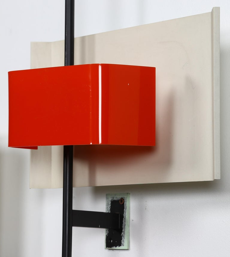 Stilnovo Wall Lamp Sconce Model 2020 Red Plexiglass, Italy, 1955, US Cabled In Good Condition For Sale In London, GB