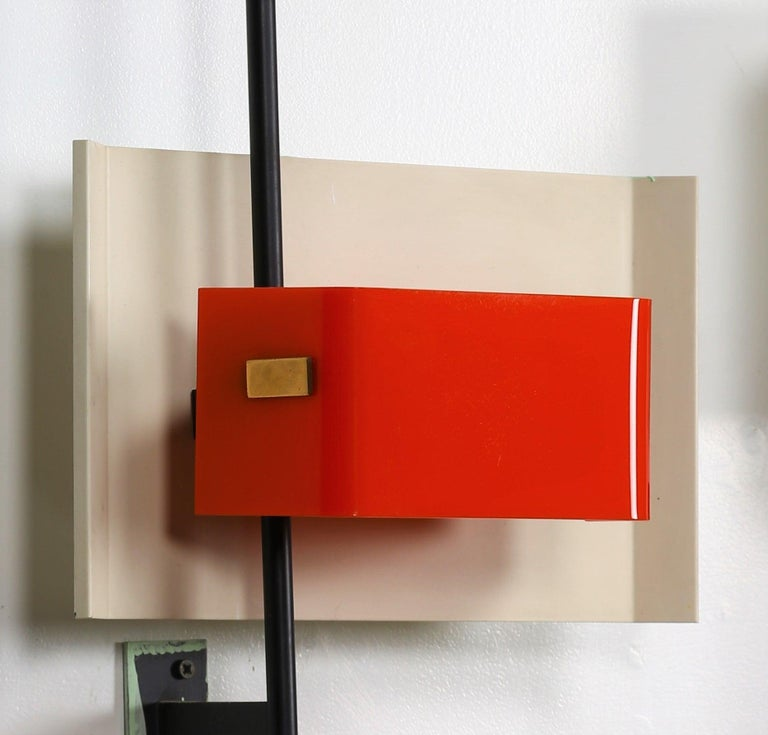 Mid-20th Century Stilnovo Wall Lamp Sconce Model 2020 Red Plexiglass, Italy, 1955, US Cabled For Sale