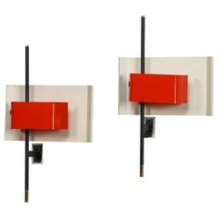 Stilnovo Wall Lamp Sconce Model 2020 Red Plexiglass, Italy, 1955, US Cabled