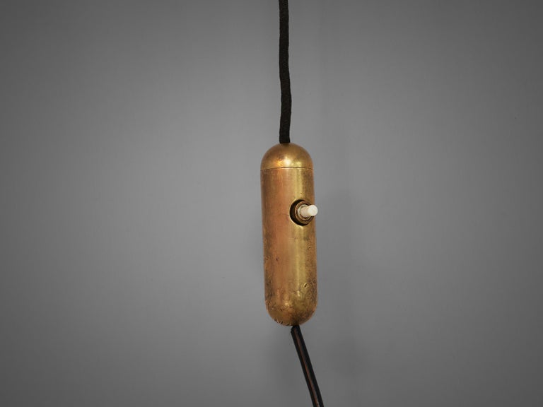 Metal Italian Wall Light with Brass and Wood For Sale