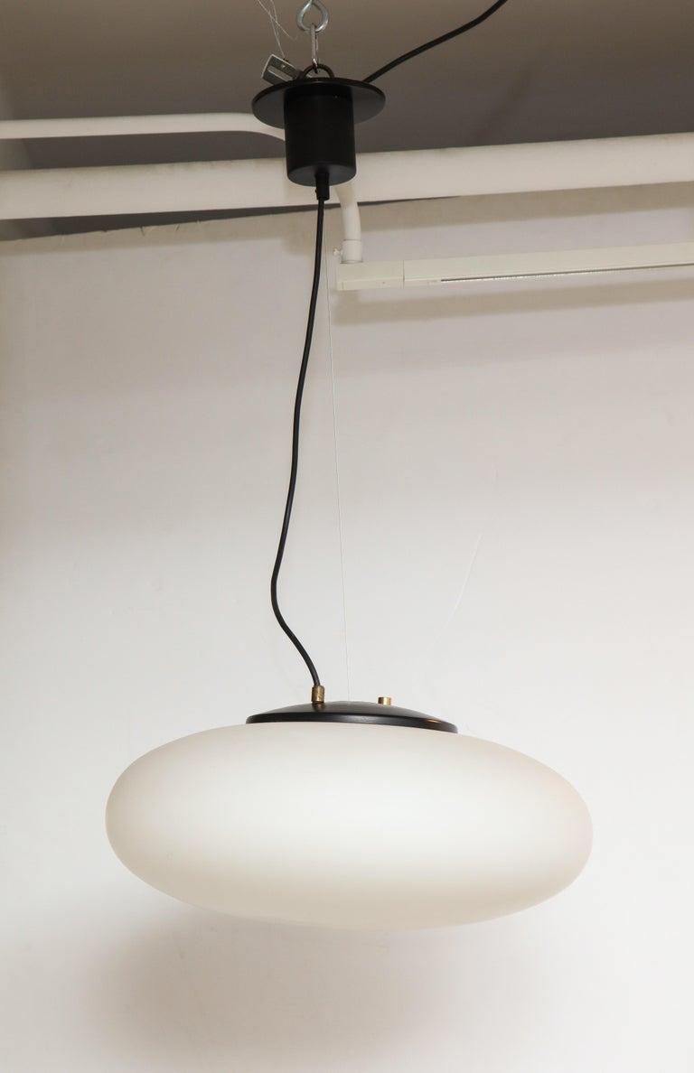 Mid-20th Century Stilnovo White Glass Suspension Light/ 'UFO' Chandelier, Italy circa 1950s-1960s For Sale