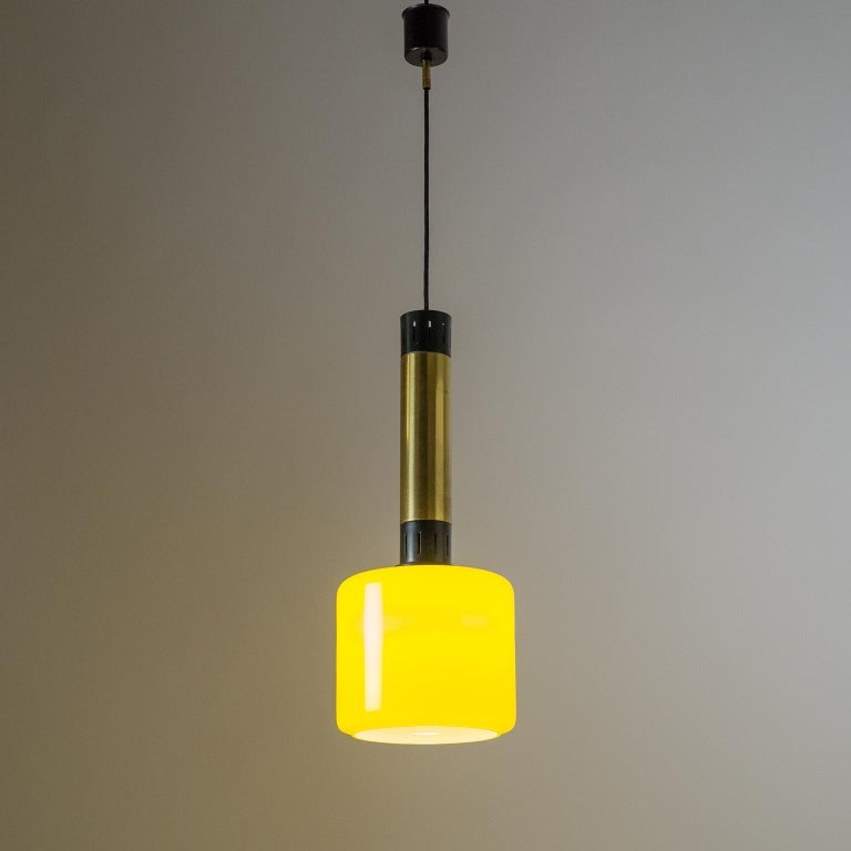 Stilnovo Yellow Glass Pendant, 1950s For Sale 2
