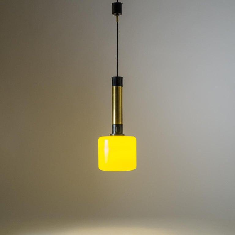 Stilnovo Yellow Glass Pendant, 1950s For Sale 3