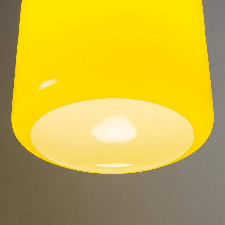 Italian Stilnovo Yellow Glass Pendant, 1950s For Sale