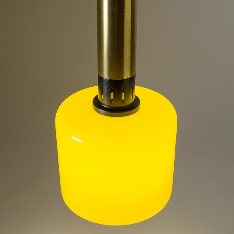 Lacquered Stilnovo Yellow Glass Pendant, 1950s For Sale