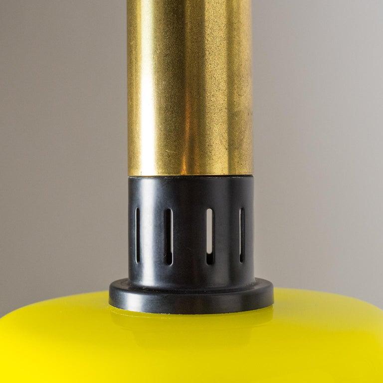 Mid-20th Century Stilnovo Yellow Glass Pendant, 1950s For Sale