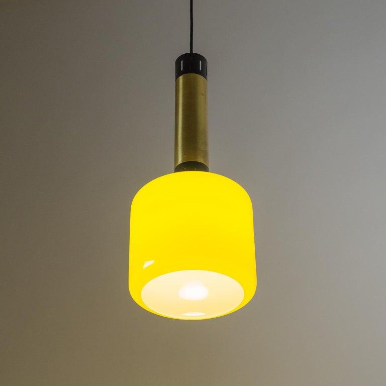 Stilnovo Yellow Glass Pendant, 1950s For Sale 1