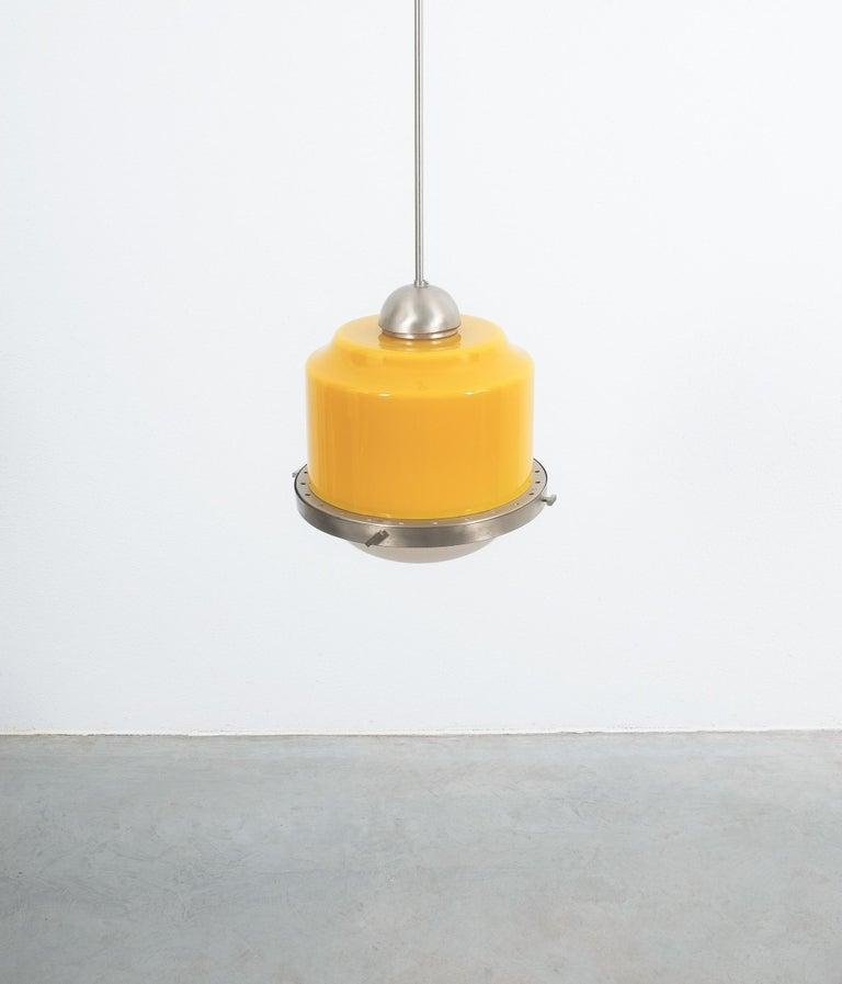 Italian Stilnovo Yellow Glass Pendant Lamp Glass, circa 1950 For Sale