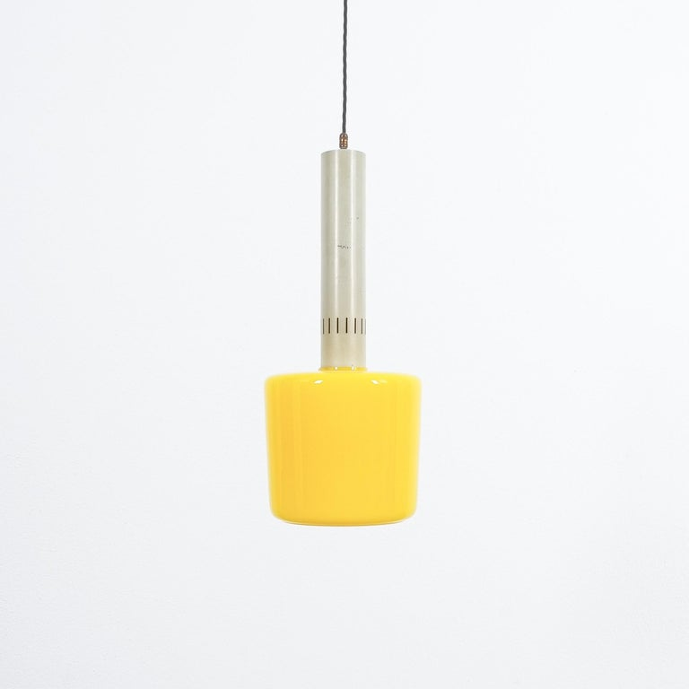 Dyed Stilnovo Yellow Glass Pendant Lamp Glass, circa 1950 For Sale