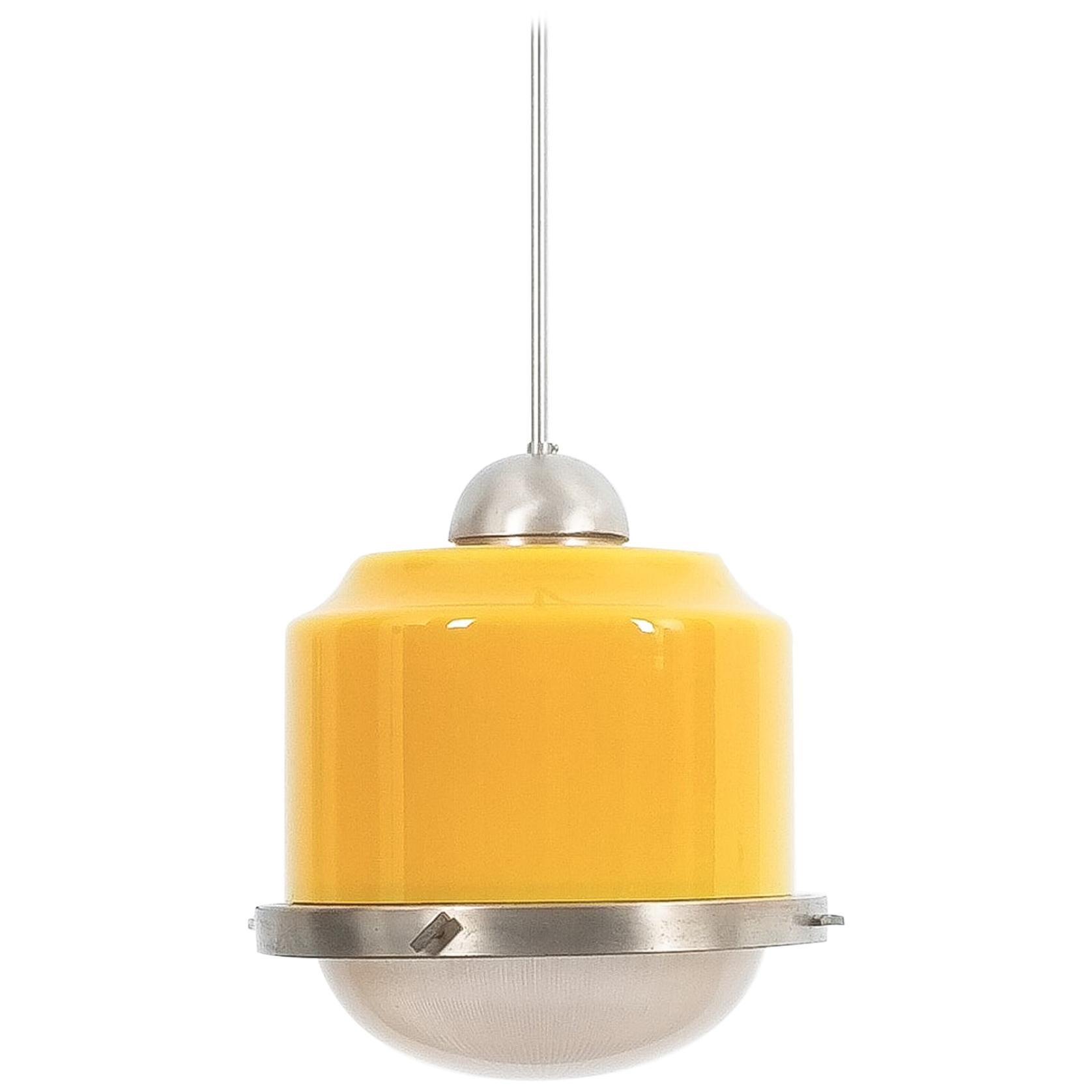 Stilnovo Yellow Glass Pendant Lamp Glass, circa 1950