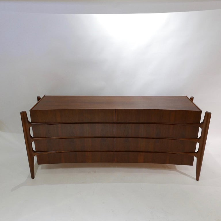 Stilted Curved Scandinavian Mid-Century Modern William Hinn Chest or Dresser For Sale 11
