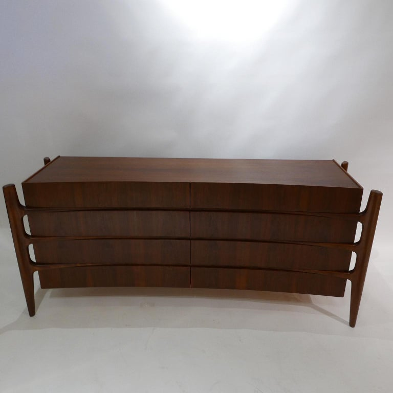 Scandinavian Modern Stilted Curved Scandinavian Mid-Century Modern William Hinn Chest or Dresser For Sale