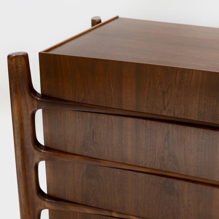 Swedish Stilted Curved Scandinavian Mid-Century Modern William Hinn Chest or Dresser For Sale