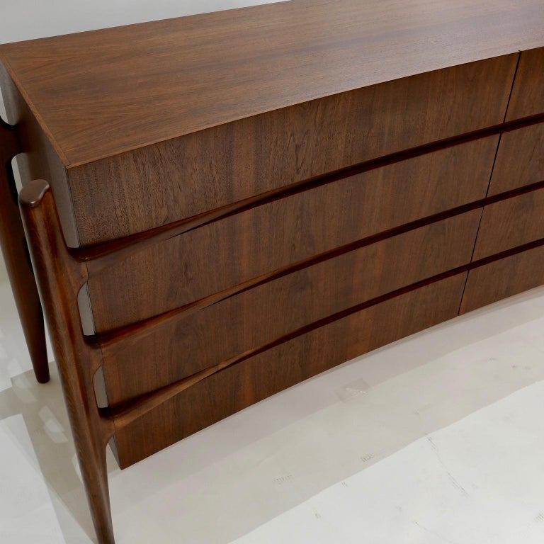Walnut Stilted Curved Scandinavian Mid-Century Modern William Hinn Chest or Dresser For Sale
