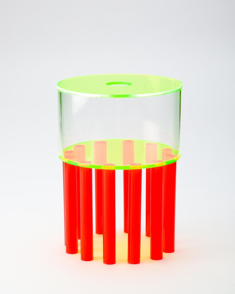The Transparent series of vases by Another Human is an exploration of color and geometry through the use of acrylic, a material employed by the designer often due to the flexibility in application. Reminiscent of the shapes and colors prevalent in