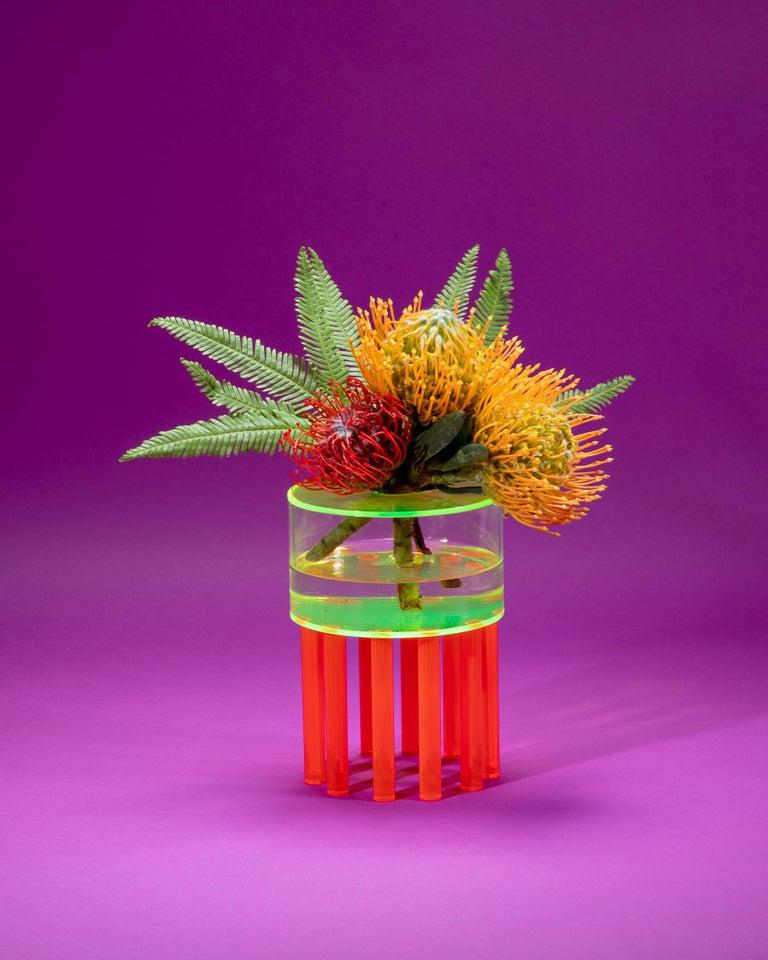 Modern Stilts Vase, Contemporary Sculptural Acrylic Vase For Sale