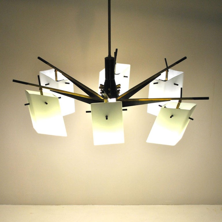 A suspension chandelier by Stilux with six opaline boxes lighting.