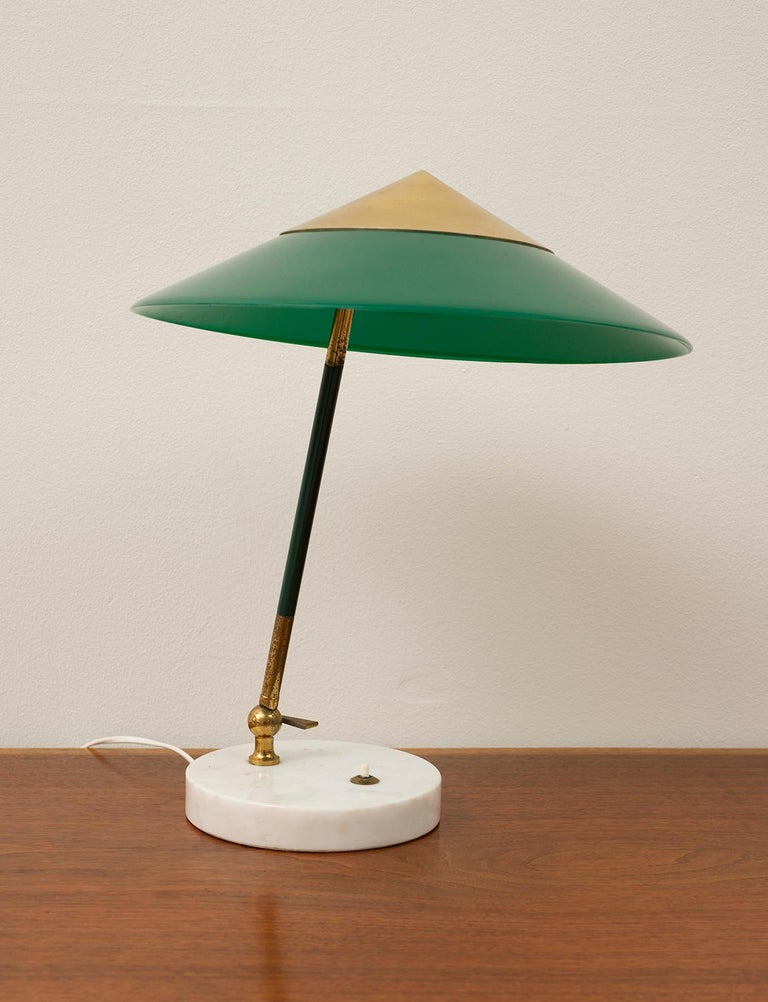 Lovely Stilux desk lamp with a green perspex and nickel-plated brass shade, brass shaft and marble base, Italy, 1950s. Rewired for US.