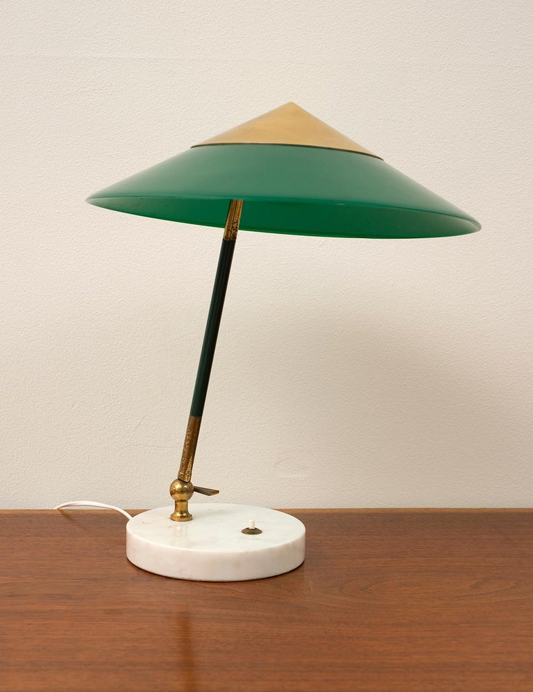Mid-Century Modern Stilux Desk Lamp in Nickel and Brass with Marble Base, Italy, 1950s For Sale