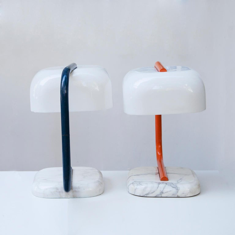 Italian Stilux Marble Bass Table Lamp Set of 2 For Sale