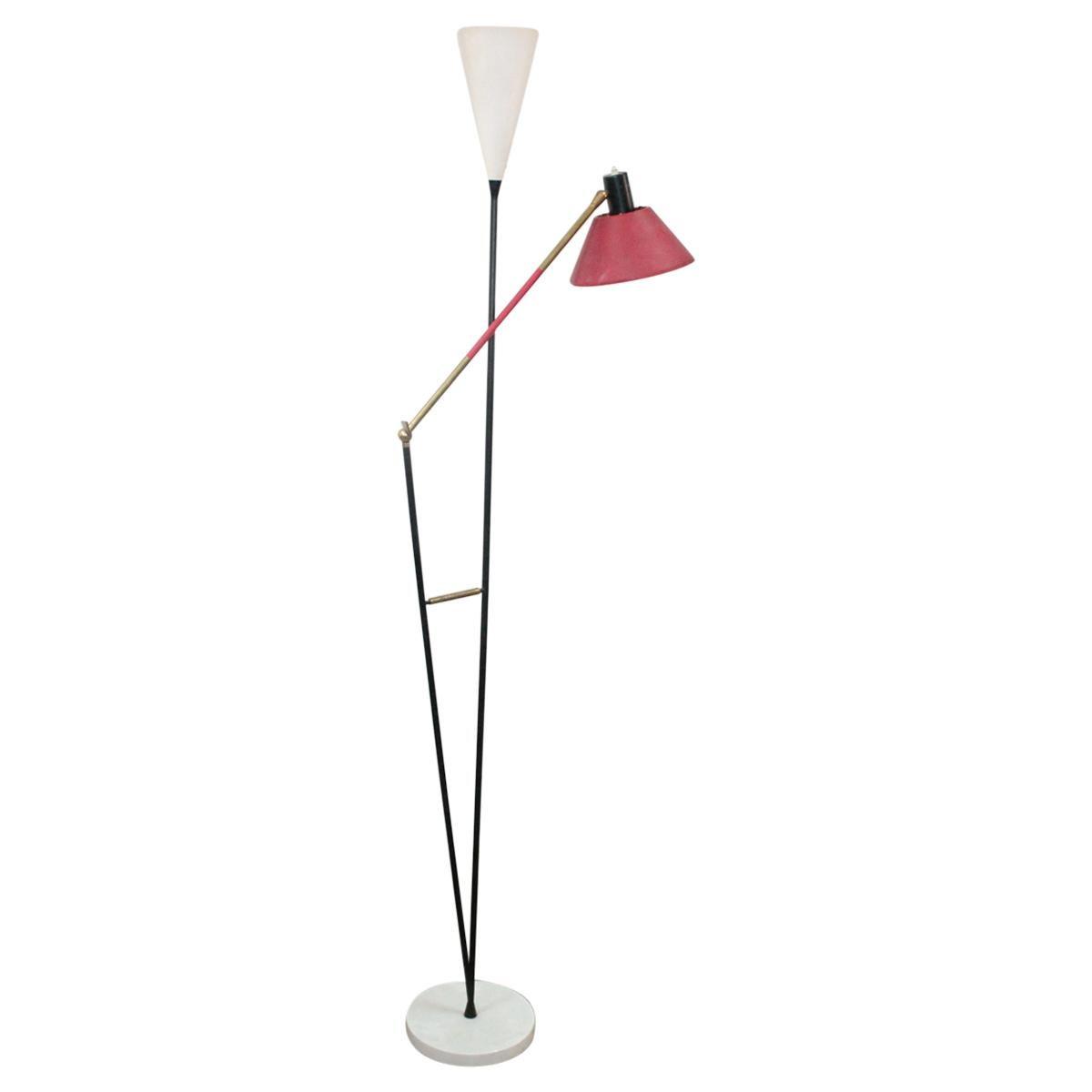 Stilux Milano Floor Lamp Brass, 1950s, Italy