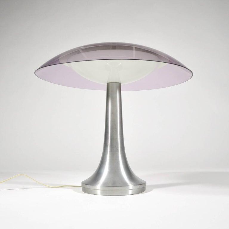 Mid-20th Century Stilux Milano Italian Table Lamp in Lucite and Aluminium, circa 1960 For Sale