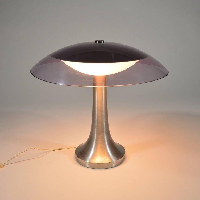 Plexiglass Stilux Milano Italian Table Lamp in Lucite and Aluminium, circa 1960 For Sale