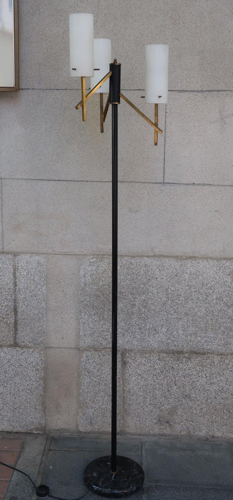 Mid-Century Modern Stilux, Opaline Glass, Marble & Brass Midcentury Italian Floor Lamp, 1950 For Sale