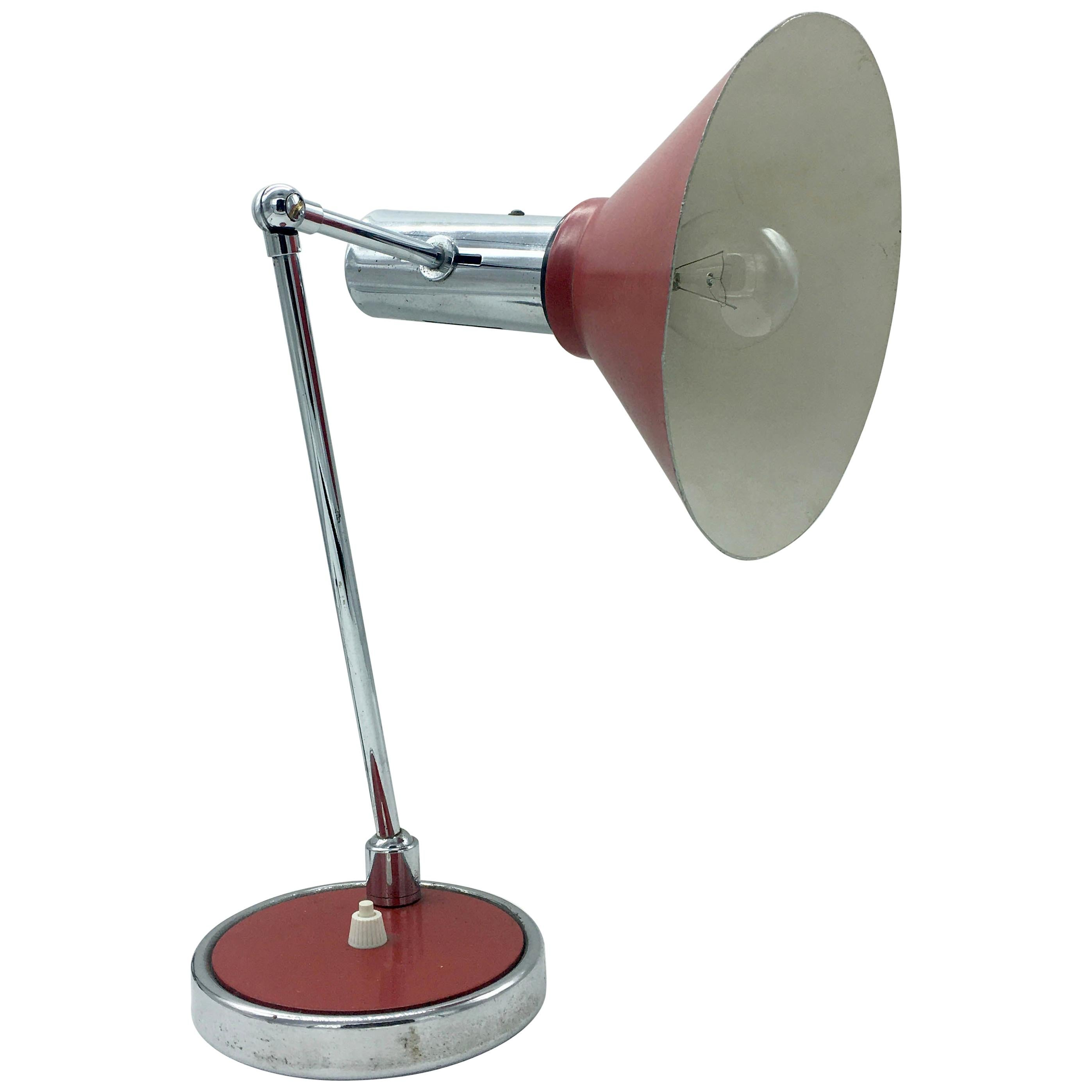 Stilux Red and Chrome Table Lamp, 1950s