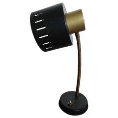 Stilux Style Midcentury Black and Golden Anodized Aluminium Table Lamp, 1950s